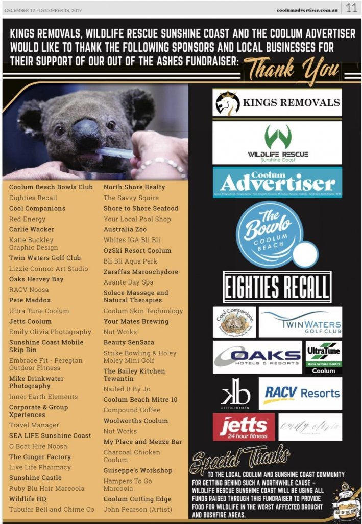 Wildlife rescue Sunshine Coast thank you page